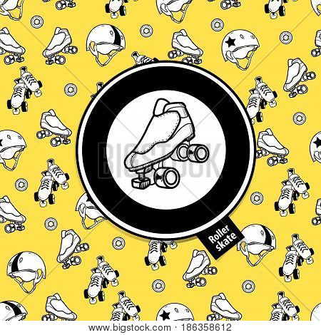 Sign roller derby and seamless pattern on the theme of roller derby and roller skating on yellow background