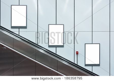 Blank Escalator Subway Advertisements Three Copyspace White Isolated Interior Urban
