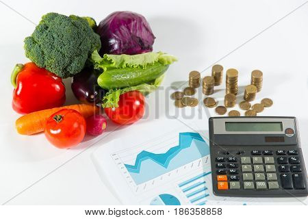 Lack Of Money On Healthy Food Concept