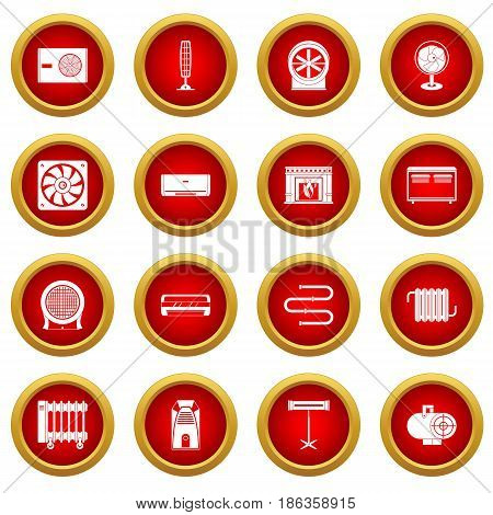 Heating cooling air icon red circle set isolated on white background
