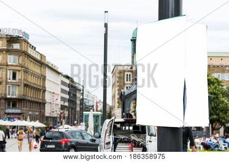 Stuttgart City Schlossplatz Urban Poster Hanging Pole White Isolated Copyspace Advertisement