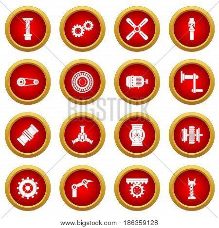 Techno mechanisms kit icon red circle set isolated on white background