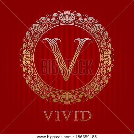 Golden logo template for vivid boutique. Vector monogram.