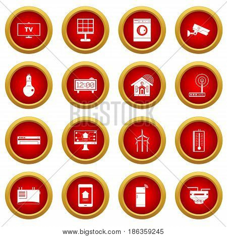 Smart home house icon red circle set isolated on white background