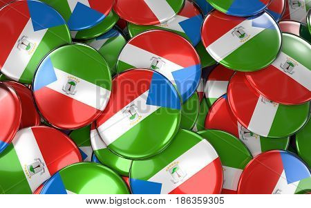 Equatorial Guinea Badges Background - Pile Of Guinean Flag Buttons.