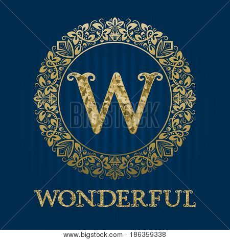Golden logo template for wonderful boutique. Vector monogram.