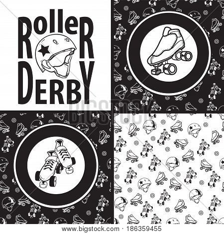 Set of drawings and seamless patterns on the theme of roller derby and roller skating with roller skates, quads, helmet