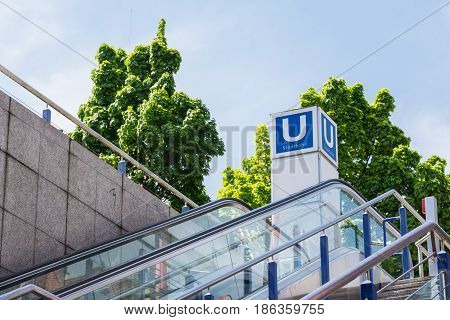 U Bahn Outdoors German Subway Sign Modern Urban City Escalator Beautiful Blue Skies