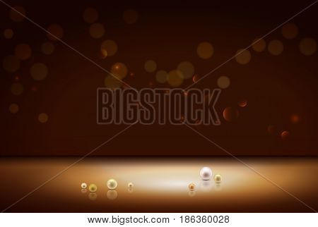Gold shiny sparkle bokeh background and light place. Golden pearls and empty place for objects. Vector illustration stock vector.