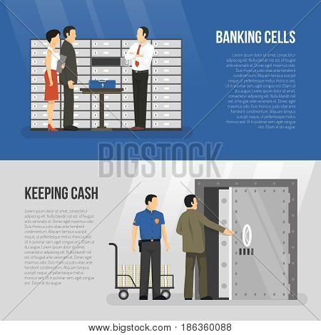 Horizontal banners set with clients and clerks standing near banking cells flat isolated vector illustration