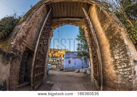 Framed View Through Ancient Door Of The Impressive Fort At Bundi, Rajasthan, India. Clear Blue Sky,