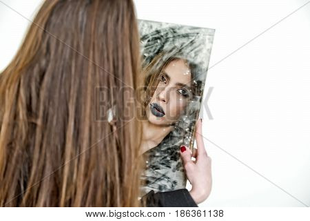 Sensual Young Lady Looking, Holding Dirty Mirror With Black Lipstick