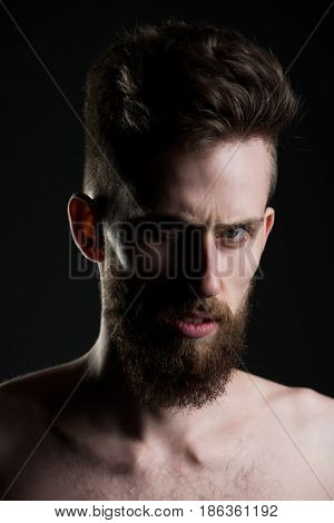 Man, Bearded Young Hipster Has Mustache On Serious Face