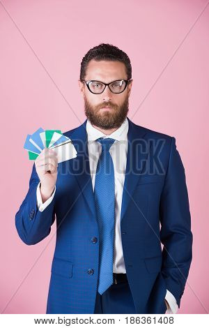 Credit Cards In Hand Of Man Or Businessman In Glasses