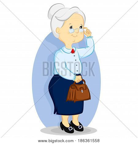 elderly woman with glasses holding a purse
