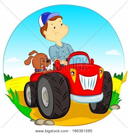 the farmer and the dog ride in the tractor