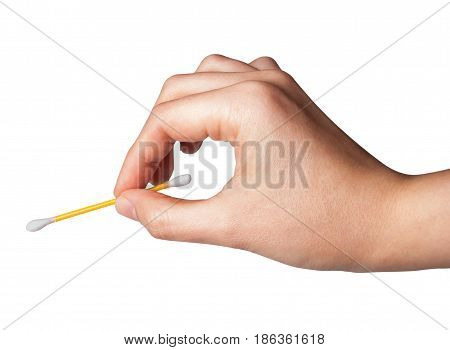 Dna test. Cotton swab. Close up of woman's hand holding a cotton bud.