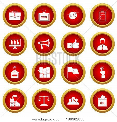 Election voting icon red circle set isolated on white background