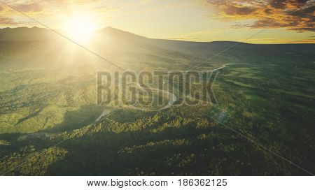 Aerial view of beautiful landscape on mountain valley during sunrise. Shot at Majalengka West Java Indonesia