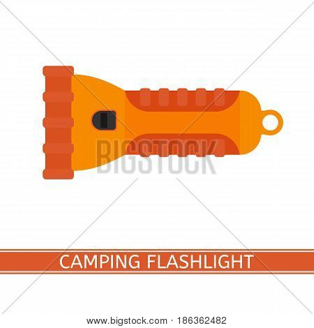Camping flashlight icon vector illustration. Orange LED flashlight in flat style isolated on white background for tourism, hiking and fishing. Useful dark places