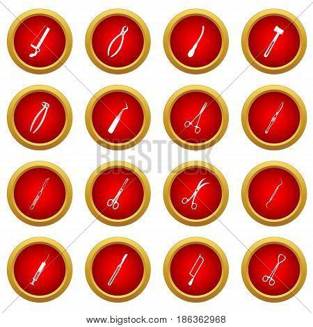 Surgeons tools icon red circle set isolated on white background