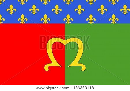Flag of Meaux is a commune in the Seine-et-Marne department in the Ile-de-France region in the metropolitan area of Paris France. Vector illustration