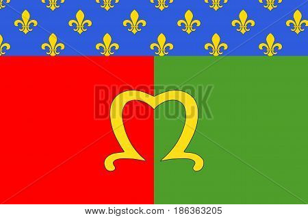 Flag of Meaux is a commune in the Seine-et-Marne department in the Ile-de-France region in the metropolitan area of Paris France. 3d illustration
