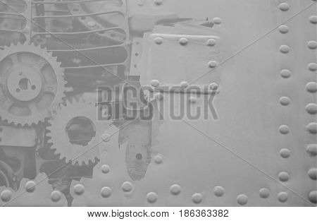 Abstract technical black and white background with a part of mechanism
