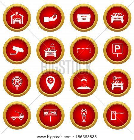Parking set icon red circle set isolated on white background