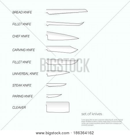Vector illustration of set of kitchen knife-blade