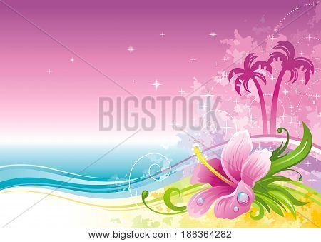 Beach sea poster landscape, hawaiian luau party. Watercolor hibiscus flower vector illustration. Aloha Hawaii design, summer holidays vacation banner. Vacation tropical island, palm tree travel icon