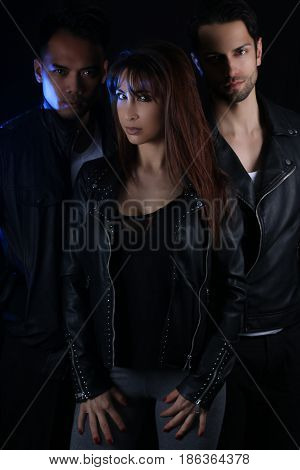 Book cover for a vampire novel - three attractive vampires
