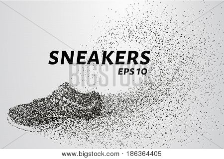Sneakers Of The Particles. Sneakers Consists Of Small Circles And Dots. Vector Illustration.