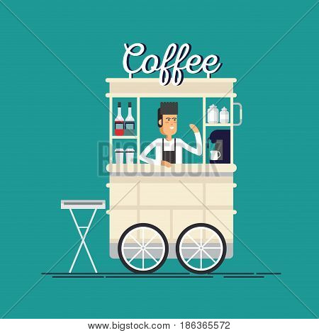 Creative detailed vector street coffee cart or shop with espresso machine, syrup bottles, disposable cups with seller.