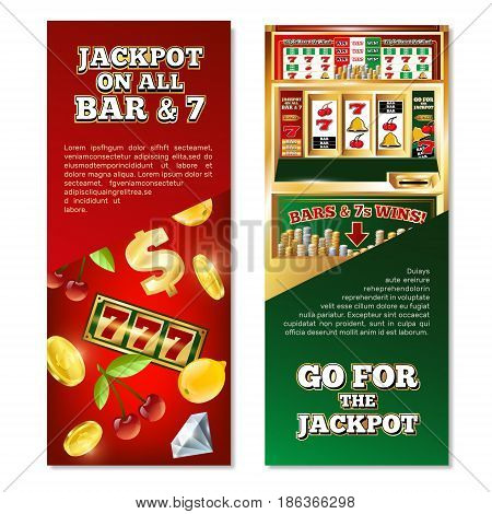 Slot machine vertical banners with jackpot on game line, dollar sign, coins, fruits, diamond isolated vector illustration