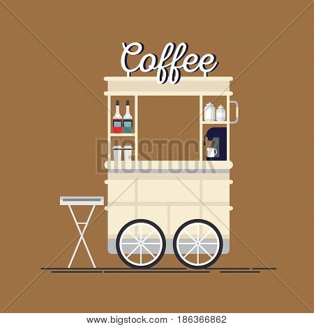 Creative detailed vector street coffee cart or shop with espresso machine, syrup bottles, disposable cups.