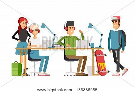 Creative people working in co working office. young adult man amd woman working on idea behind they desk listening music. Freelance workers.