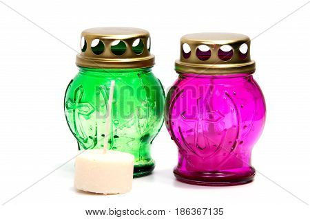 votive candles isolated on white background with clipping path. Cemetery candles.