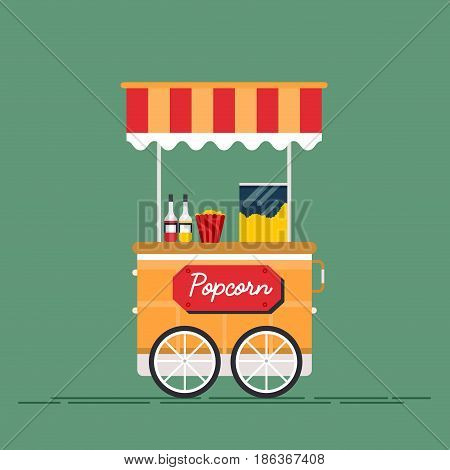 Detailed creative vector illustration on street food vending cart with popcorn machine