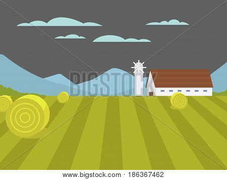 Village landscapes vector illustration farm house agriculture graphic countryside. Grunge farmhouse outdoor road season scene horizon organic scenic antique drawing.