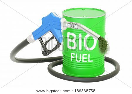barrel with bio fuel and gas pump nozzle 3D rendering