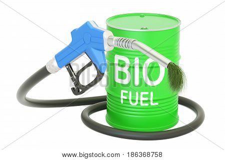 barrel with bio fuel and gas pump nozzle 3D rendering