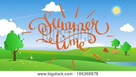 Summer day landscape with a green hills and trees vector background. Color illustration with isolated lettering -Summertime- or you can paste your text or leave an empty space.