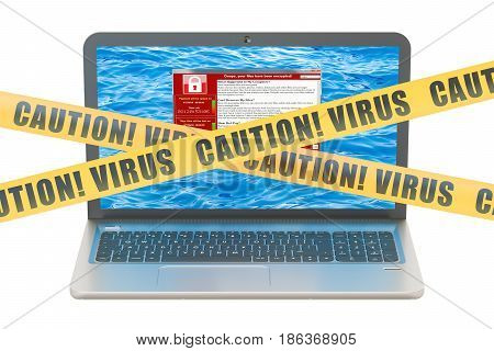 Laptop with virus 3D rendering isolated on the white background