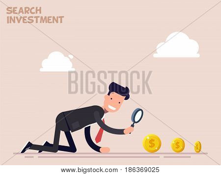 Businessman or manager crawls on all fours in search of money and investment in business. Vector illustration in a flat cartoon style