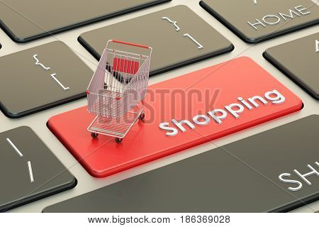 Online Shopping red keyboard button 3D rendering