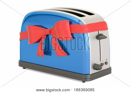 Toaster with red ribbon and bow gift concept. 3D rendering isolated on white background