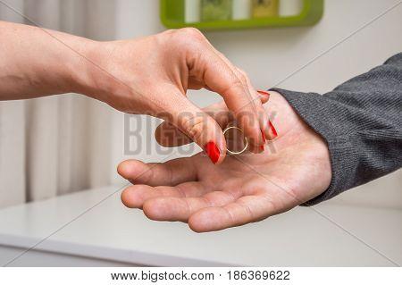 Woman Returning Wedding Ring To Her Ex-husband
