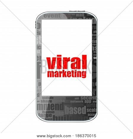 Viral Marketing. Mobile Smart Phone. Business Concept. Isolated On White