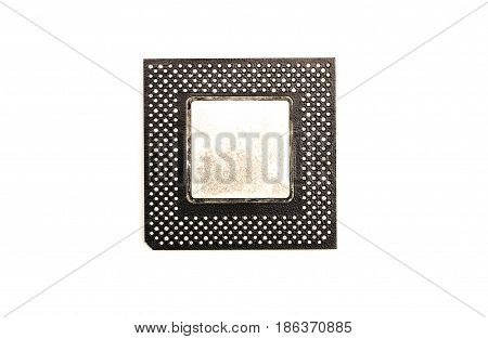 Processor chip cpu (central processing unit) isolated on white background. Top view.